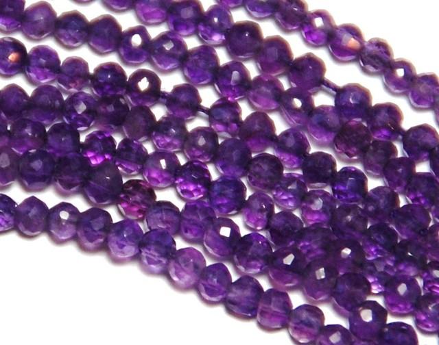 3mm AAA deep purple AMETHYST faceted beads 14