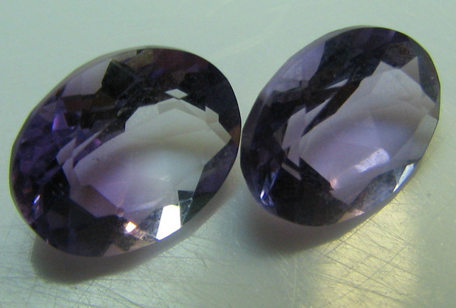 AMETHYST FROM BRAZIL 2 STONE PARCEL 3.45 CTS  OVAL CUT
