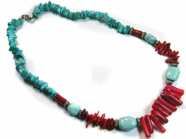 TRIBAL TOURQUOISE  AND CORAL IN TIBETIAN SILVER NECKLACE  ST