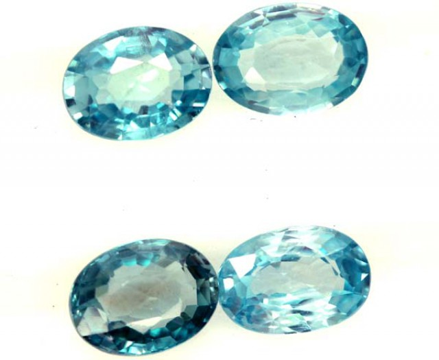 BLUE ZIRCON FACETED STONE (4 PCS) 5 CTS  pg-1363