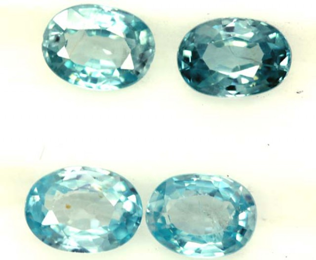 BLUE ZIRCON FACETED STONE (4 PCS) 5 CTS  PG-1348