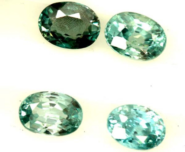 BLUE ZIRCON FACETED STONE (4 PCS) 6 CTS  PG-1358