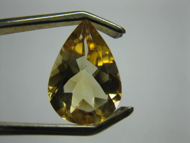 4.4 carat FACETED YELLOW CITRINE PEAR CUT GEM