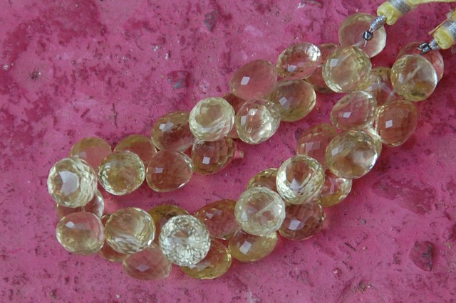Large 11mm - 12mm Lemon Quartz briolettes onion shape 8