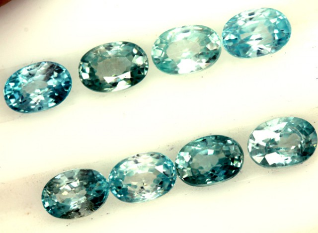 BLUE ZIRCON FACETED STONE (8 PCS) 7 CTS  PG-1393