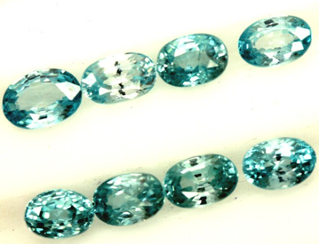 BLUE ZIRCON FACETED STONE (8 PCS) 7 CTS  PG-1394