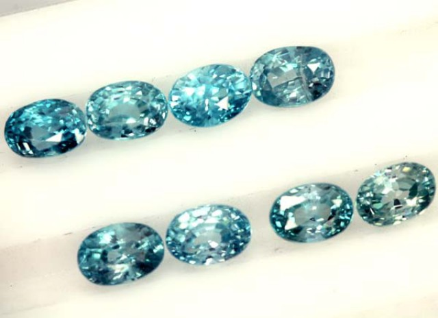 BLUE ZIRCON FACETED STONE (8 PCS) 8 CTS  PG-1375