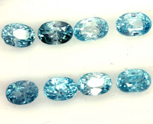 BLUE ZIRCON FACETED STONE (8 PCS) 8 CTS  PG-1390
