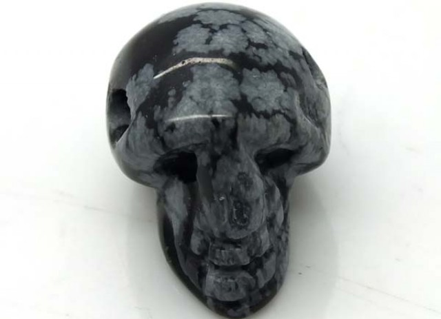 SNOWFLAKE OBSIDIAN SKULL DRILLED 21.50 CTS ADG-469
