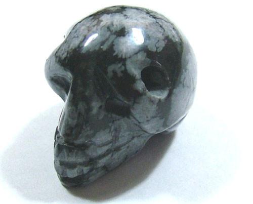 White Snowflake Obsidian : Snowflake obsidian skull drilled cts adg