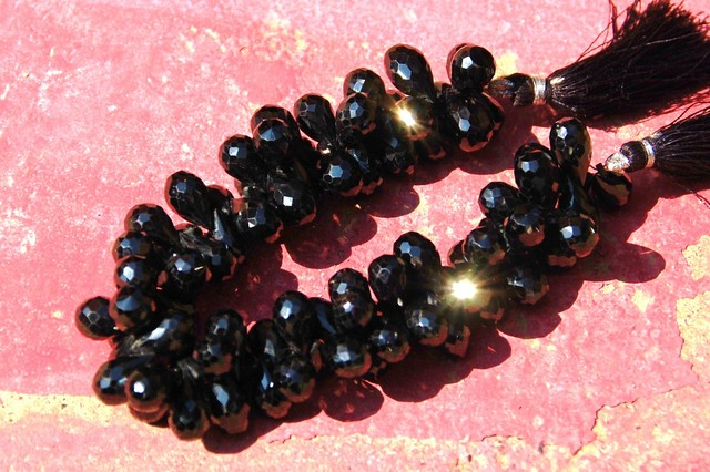 SALE 11mm to 12mm  BLACK SPINEL briolettes AAA  Lot of 10