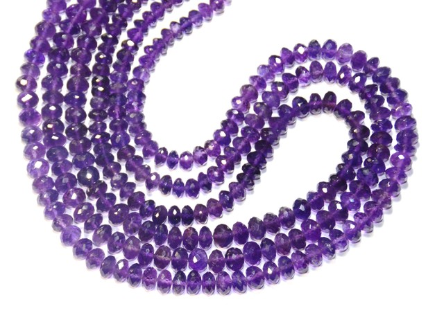 Purple Amethyst faceted Beads 5.5 - 7mm 16