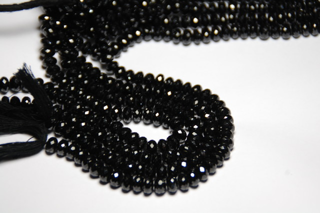 6mm to 7mm BLACK SPINEL diamond polished beads AAA