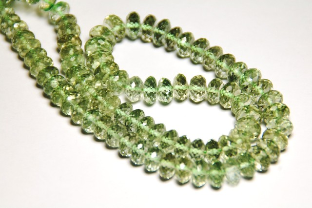 prasiolite faceted beads 7 to 11mm 16