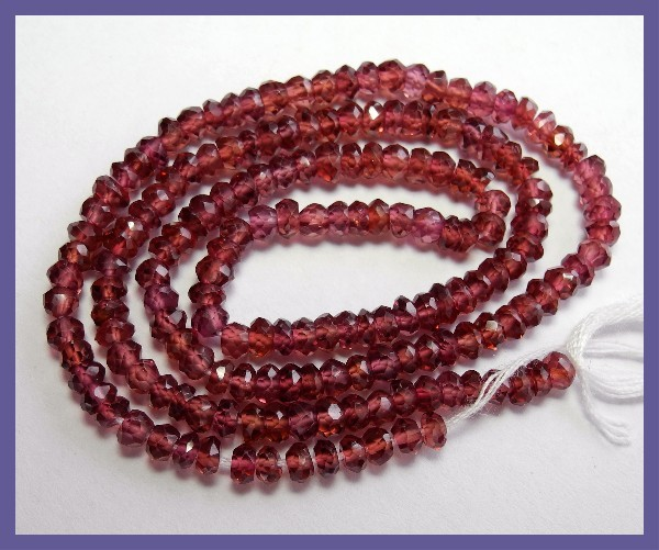 GORGEOUS AAA 3.5-4MM RHODOLITE GARNET FACETED ROUNDEL BEADS