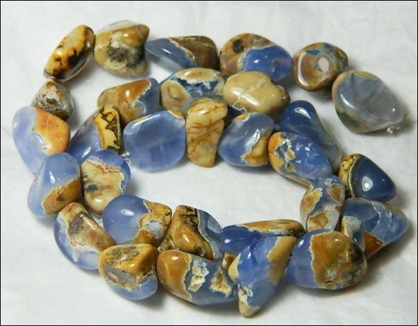 Natural Chalcedony In Matrix Tumbled Beads B841