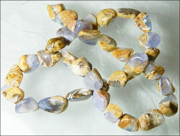 Natural Chalcedony In Matrix Tumbled Beads B854
