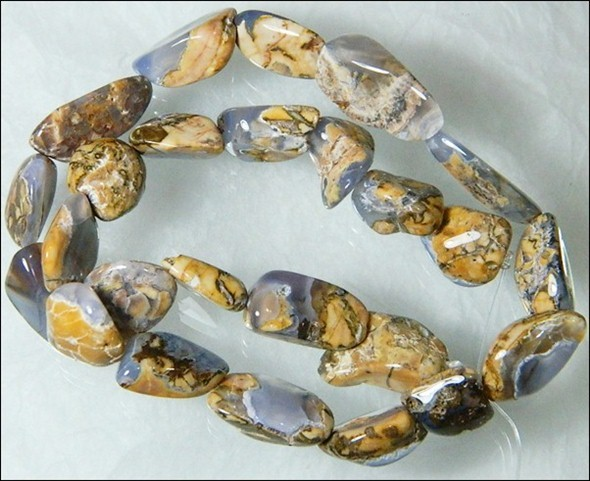 Natural Chalcedony In Matrix Tumbled Beads B857