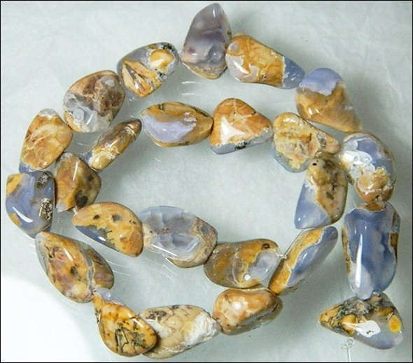 Natural Chalcedony In Matrix Tumbled Beads B858