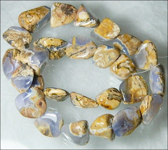 Natural Chalcedony In Matrix Tumbled Beads B865