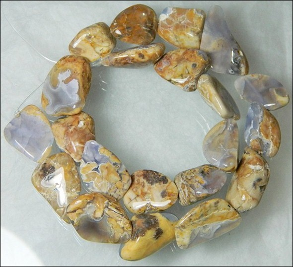 Natural Chalcedony In Matrix Tumbled Beads B870