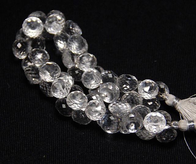 """11mm DIAMOND QUARTZ faceted briolettes onion 8"""" 20cm line"""