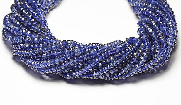 """NEW ITEM 13.5"""" line  AA IOLITE Israeli beads 3.5-4mm"""