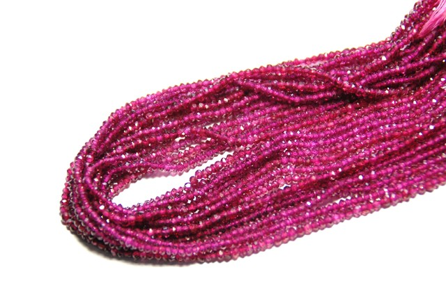 3mm Faceted RHODOLITE GARNET beads 14inch line
