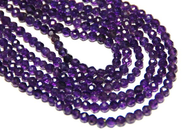 *NEW STOCK* AA Grade AFRICAN AMETHYST hand-faceted beads 3mm
