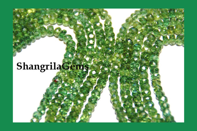 GREEN APATITE FACETED beads AAA 3mm - 5mm 16