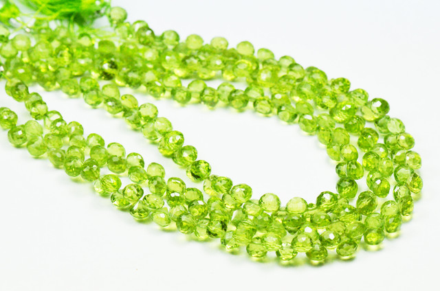 PERIDOT BRIOLETTES onion shape 5mm by 5mm lot of 20 AAA