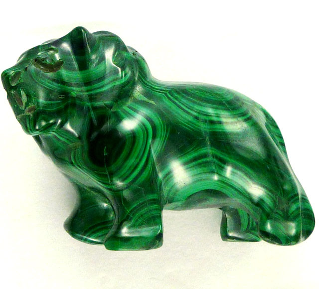 MALACHITE LION CARVING 257.45 CARATS  RT 1652