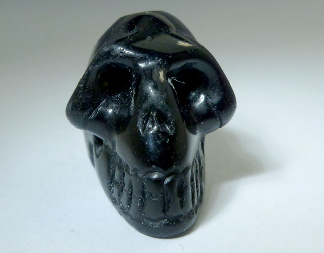 FACETED BLACK  OBSIDIAN   GEMSTONE SKULL 30.60  CTS RT 1880