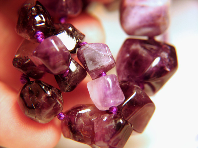 387tcw, Amethyst Strand - 16 inches - Polished Purple Beauty