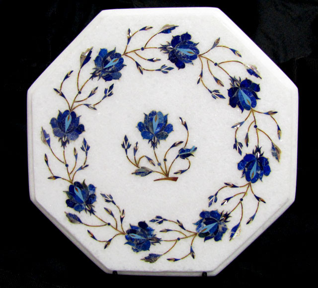 BEAUTIFUL MARBLE TOP INLAID GEMS DIAMETER 27 CM MS48