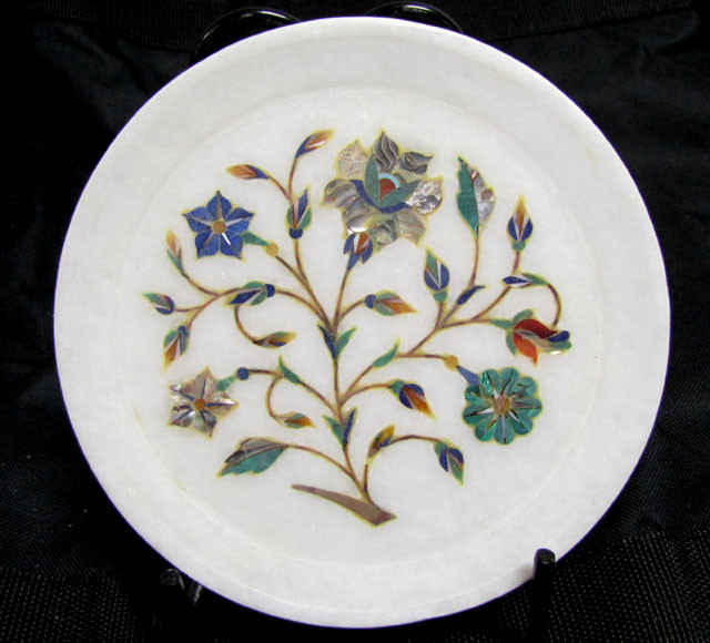 BEAUTIFUL MARBLE PLATE INLAID GEMS DIAMETER 15.5 CM  MS49
