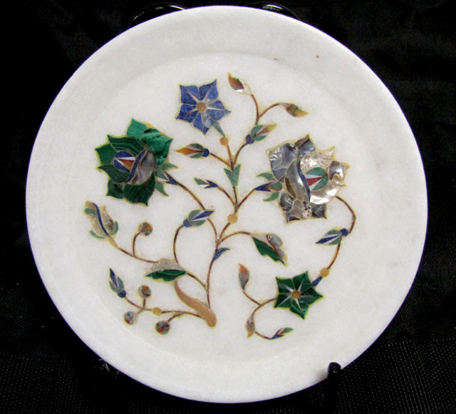 BEAUTIFUL MARBLE PLATE INLAID GEMS DIAMETER 15.5 CM MS57