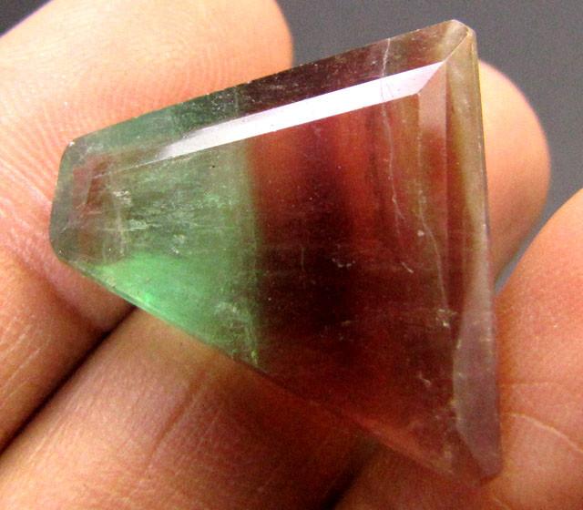 argentinean bi-color fluorite faceted gemstone