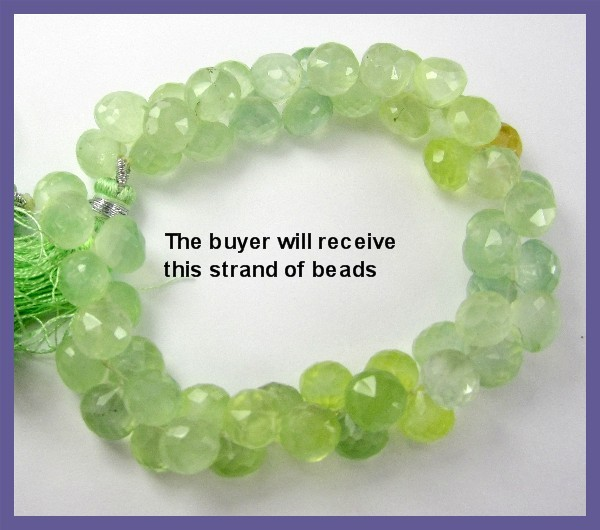 ABSOLUTELY GORGEOUS PREHNITE FACETED ONION BRIOLETTE BEADS!!
