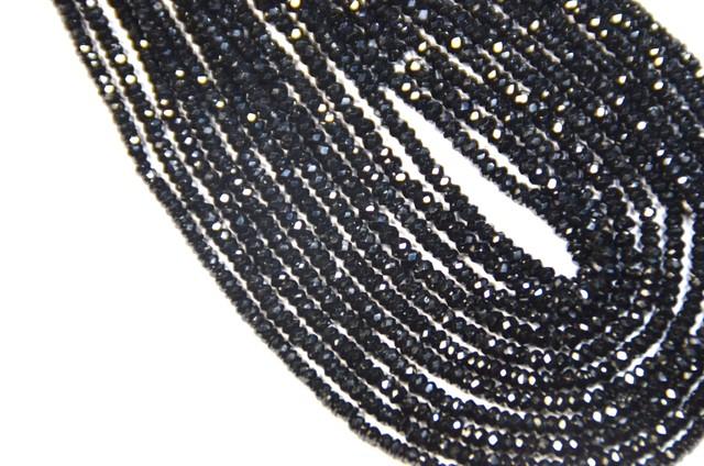 "AAA 2mm Black Spinel beads Diamond Polished 13"" spb002"
