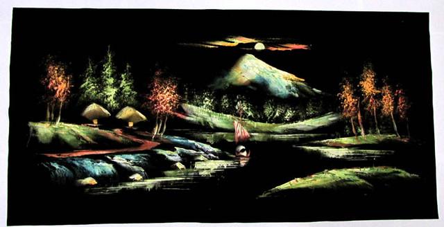 large Acrylic Painting on Black velvet  PG 135