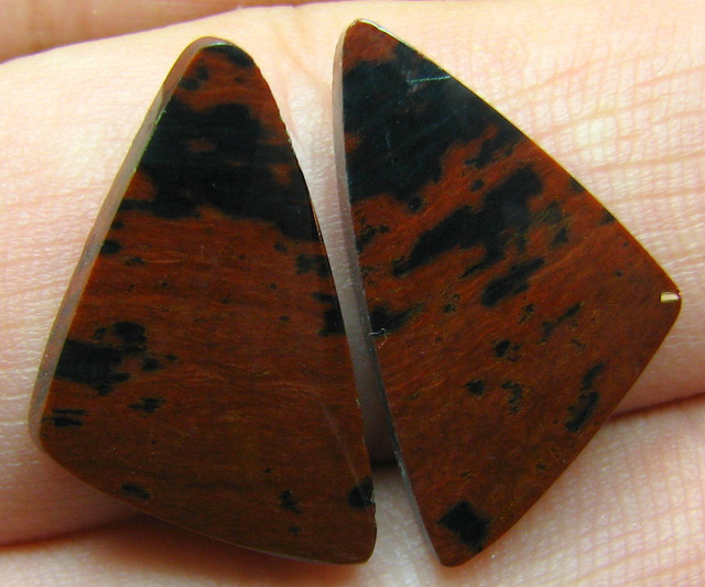 OBSIDIAN MECCA PAIR OF STONES 13.00 CTS