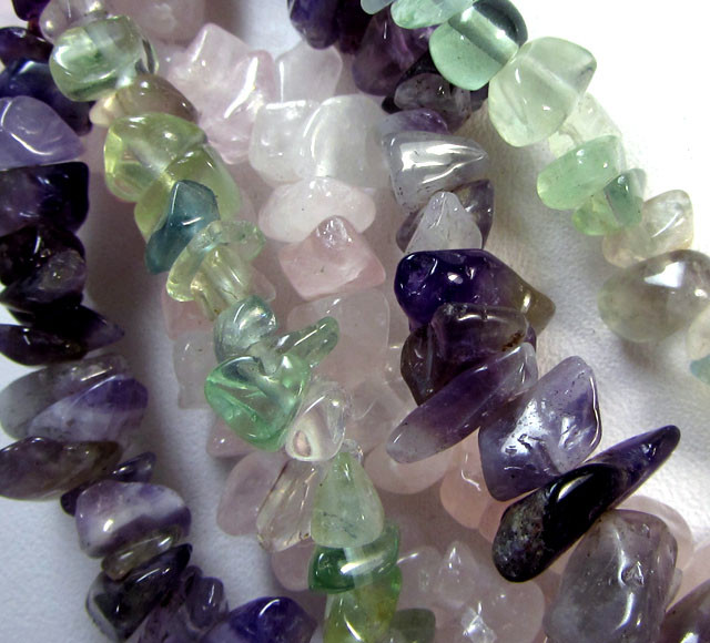 THREE STRANDS,FLOURITE ,AMETHYST ROSE QUARTZ RT2581