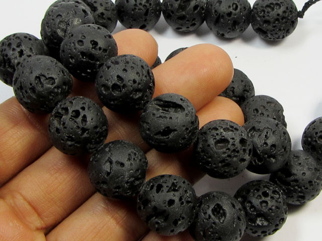 405 CTS   14 MM ROUND PACIFIC LAVE BEAD STRAND  AGR 104