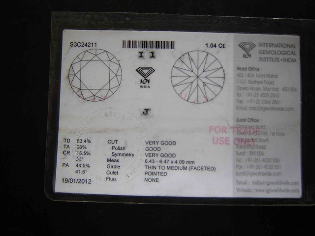 NATURAL IGI CERTIFIED, SOLITIARE,1.04CTWSIZE DIAMOND-J-I-1,,