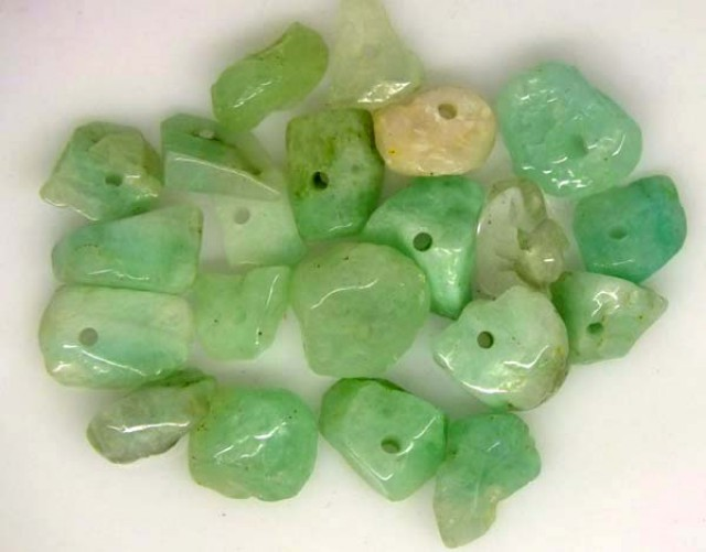 EMERALD BEAD UNTREATED DRILLED 21 PCS 25 CTS  NP-1388