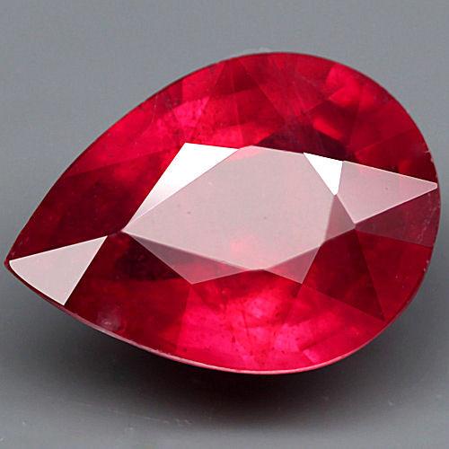 3.65 Carat Fiery Ruby Pear - Flashy Beauty