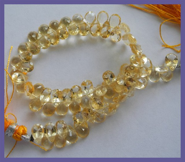 ABSOLUTELY GORGEOUS 5X7MM CITRINE FACETED PEAR BRIOLETTE BEADS!!