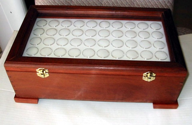 Gemstone Display Case 200 Gem Jars Solid Jarrah Glass Lid