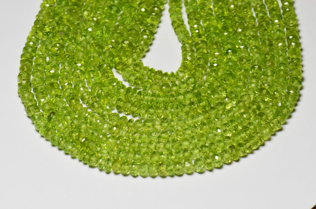 2.5 to 3mm PERIDOT faceted roundelle beads AAA 13.5